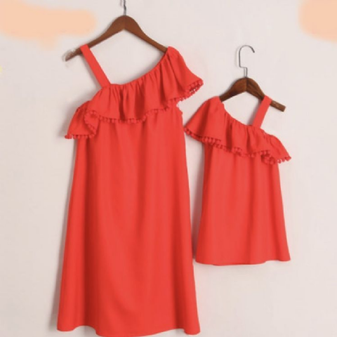 ONE SHOULDER RUFFLE DRESSES
